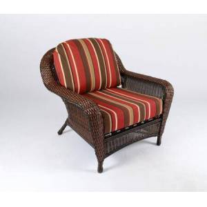 Tortuga Sea Pines Collection LEX-C1-J-MONS Club Chair in Java Wicker and Monserrat Sangria Fabric