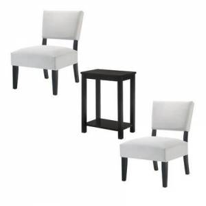 Benzara BM215009 3 Piece Accent Table and Chair with Fabric Upholstery