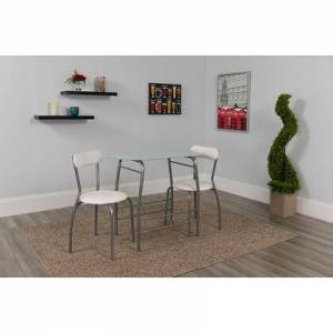 Flash Furniture XM-JM-A0278-1-2-WH-GG Sutton 3 Piece Space-Saver Bistro Set with White Glass Top Table and White Vinyl Padded