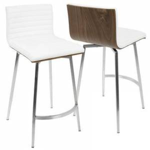 LumiSource B26-MSNSW WLW2 Mason Contemporary Swivel Counter Stool in White  Stainless Steel  and Walnut - Set of