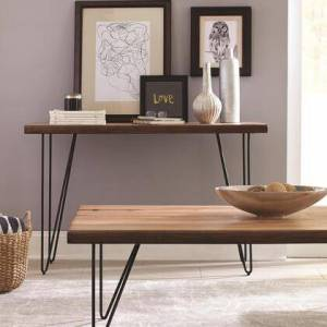 Benzara BM184962 Solid Wooden Contemporary Sofa Table With V-Shaped Metal Base  Honey