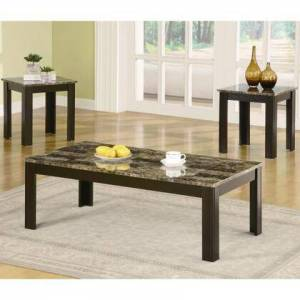 Coaster 700375 Faux Marble 3-Pc Coffee/End Table Set by