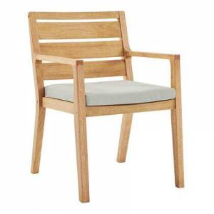 Modway Portsmouth Collection EEI-3689-NAT-TAU  Karri Wood Outdoor Patio Dining Armchair with FSC Certified Karri Wood  Slatted Back and Seat in Natural and