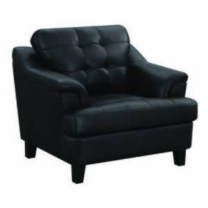Benzara BM196649 Faux Leather Upholstered Wooden Chair with Tufted Cushioning and Wooden Feet