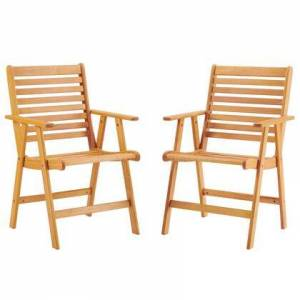 Modway Hatteras Collection EEI-3966-NAT Outdoor Patio Eucalyptus Wood Armchair Set of 2 with FSC Certified Eucalyptus Wood and Slatted Wood Seat in Natural