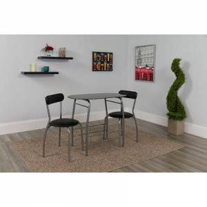 Flash Furniture XM-JM-A0278-1-2-BK-GG Sutton 3 Piece Space-Saver Bistro Set with Black Glass Top Table and Black Vinyl Padded