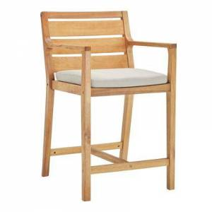 Modway Portsmouth Collection EEI-3691-NAT-TAU  Karri Wood Outdoor Patio Bar Stool with FSC Certified Karri Wood  Slatted Back and Seat and Modern Farmhouse