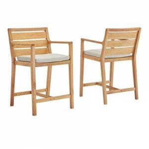 Modway Portsmouth Collection EEI-3832-NAT-TAU  Outdoor Patio Karri Wood Bar Stool Set of 2 with FSC Certified Karri Wood  Slatted Back and Seat and Modern