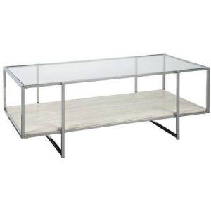 """Ashley Bodalli Collection T200-1 23"""" Coffee Table with Faux Travertine Marble Table Shelf  Chrome Tone Metal Frame and Tempered Glass Top in Ivory/Chrome"""