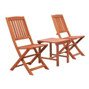 Vifah Malibu Collection V1802SET12 3-Piece Outdoor Patio Dining Set with Two Folding Chairs and Side Table in Natural Wood