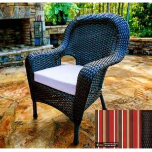 Tortuga Sea Pines Collection LEX-DC-T-MONS Dining Chair in Tortoise Wicker and Monserrat Sangria Fabric