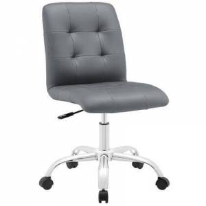 Modway Prim Collection EEI-1533-GRY Mid Back Office Chair with Adjustable Height  Swivel Seat  Five Dual-Wheel Nylon Casters  Chrome Steel Base and Faux