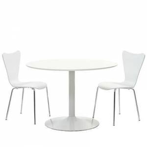 """Modway Revolve EEI-887 34"""" 3 Piece Dining Set with Pedestal Base and Polished Metal Legs in White"""