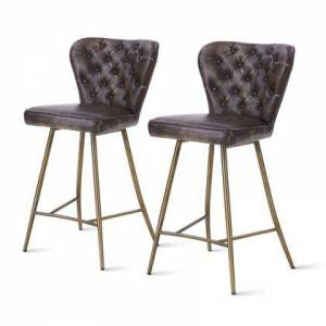 New Pacific Direct 5600015-359 Jules PU Leather Swivel Counter Stool Set of 2  in Monsoon