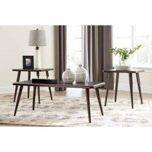 Ashley Fazani Collection T037-13 3-Piece Occasional Table Set with Cocktail Table and 2 End Tables in Dark