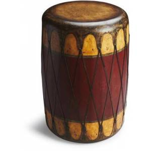 Butler Navajo Collection 2199120 Drum Table with Transitional Style  Round Shape  Solid Wood and Leather Uphlostery in Mountain Lodge