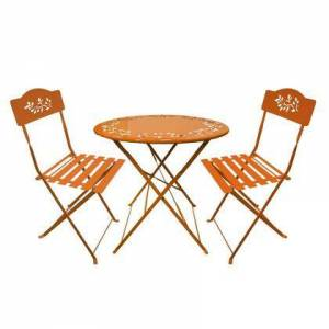 Alpine MSY100A-OR 3 Piece Bistro Set with 1 Foldable Table and 2 Chairs in