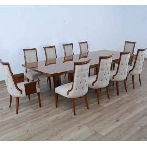 European Furniture Glamour Collection Luxury 11 Pieces Set with 1 Dining Table + 2 Arm Chair and 8 Side Chair  in Dark Moka Natural