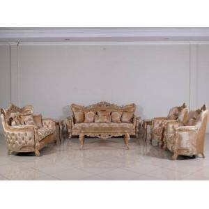 European Furniture Imperial Palace Collection Luxury 3 Pieces Set with 1 Sofa + 1 Loveseat + 1 Chair  in Dark Champagne  Antique White and Dark