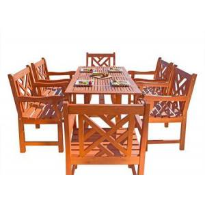 Vifah Malibu Collection V189SET9 Eco-Friendly 7-Piece Wood Outdoor Dining
