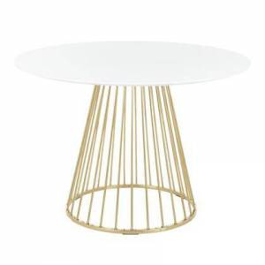 LumiSource Canary Collection DT-CANARY2AUW Dining Table with Round Wood Top  Contemporary/Glam Style and Cage-Like Gold Tone Metal Base in Gold and White