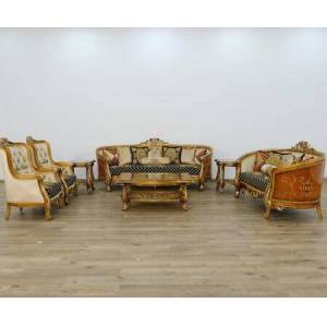 European Furniture Luxor Collection II Luxury 3 Pieces Set with 1 Sofa + 1 Loveseat + 1 Chair  in Black Gold