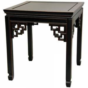 """Oriental Furniture ST-PA106-AB 20"""" Ming End Table with Solid Rosewood Construction  Floating Panel Top and Hand Carved Key Leg Supports in Antique"""