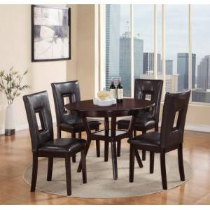 Cosmos Furniture Poppy Collection POPPYDININGSET 5-Piece Dining Room Set with Round Dining Table and 4 Side Chairs in