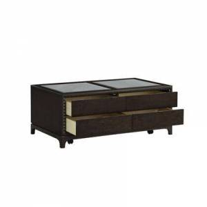 Benzara BM215035 Mirror Top Coffee Table with 4 Drawers and Bracket Feet  Espresso