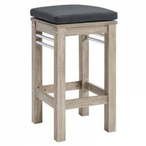 Modway Wiscasset Collection EEI-3687-LGR-STE  Outdoor Patio Acacia Wood Bar Stool with FSC Certified Acacia Wood Base  Brushed Aluminum Supports and