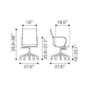 Zuo 100375 Glider Low Back Office Chair