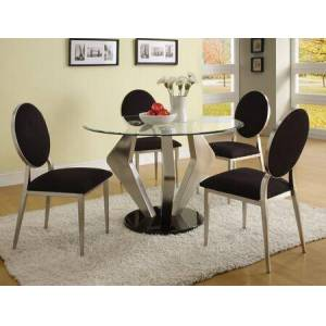 Acme Furniture Turner Collection 70010T4C 5 PC Dining Room Set with Round Shaped Dining Table and 4 Black Microfiber Side Chairs in Chrome