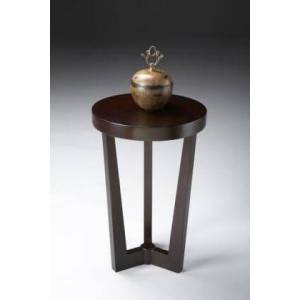 Butler Aphra Collection 6021022 Accent Table with Modern Style  Round Shape  Medium Density Fiberboard (MDF) and Rubberwood Solids in Merlot