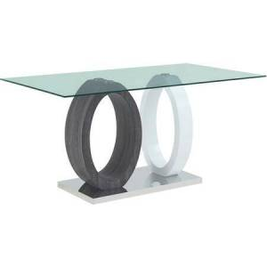 Global Furniture USA D1628BT Bar Table with Stainless Steel Bottom White Legs HG & Grey Paper  Clear Glass Top in