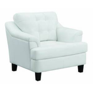 Benzara BM196652 Faux Leather Upholstered Wooden Chair with Tufted Cushioning and Wooden Feet  White and