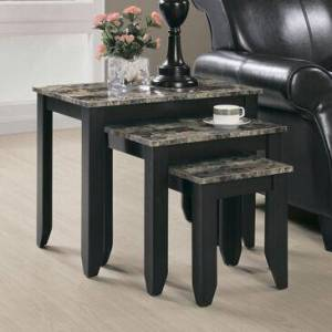 Monarch I 7982N 3-Piece Set Marble Top Nesting Table in Espresso