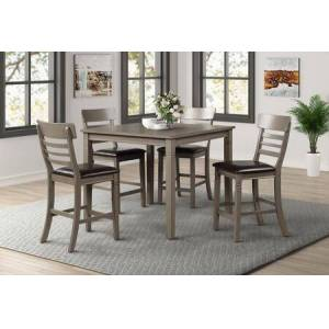 Myco Furniture Paige Collection PA300-5PC 5 Piece Counter Height Dining Set with Ladder Seat Back and Wood Top in Gray