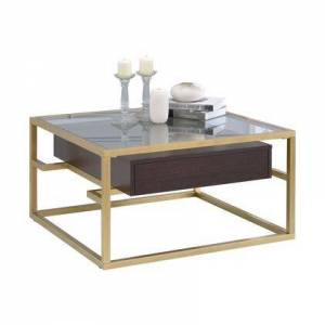 Benzara BM201947 Square Top Metal Frame Coffee Table with Wooden Drawer  Gold and