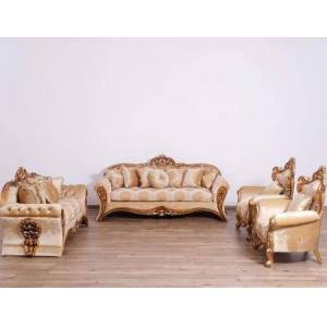 European Furniture Emperador Collection II Luxury Set 3 Pieces with 1 Sofa + 1 Loveseat + 1 Chair  in Brown Silver and Light