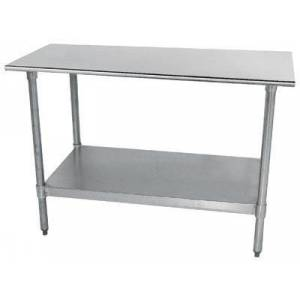 """Advance Tabco TT-300-X Lite Series Work Table with Galvanized Steel Undershelf and Legs  Flat Top and Plastic Bullet Feet  30"""" x"""