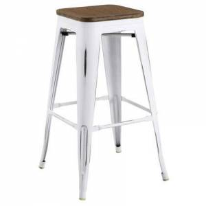 Modway Promenade Collection EEI-2819-WHI Bar Stool with Industrial Style  Laminated Bamboo Square Shaped Seat and Vintage Powder Coated Steel Frame in White