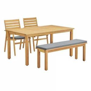 Modway Syracuse Collection EEI-3833-NAT-GRY-SET 4 Piece Outdoor Patio Eucalyptus Wood Dining Set with FSC Certified Eucalyptus Wood  Slatted Wooden Table