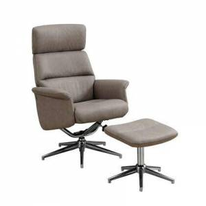 Monarch I 8134 Swivel Adjust Headrest Recliner and Ottoman in Taupe