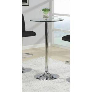 """Coaster Bar Units and Bar Tables 23.75"""" Bar Table with Tempered Glass Top and Sturdy Metal Base in Chrome"""