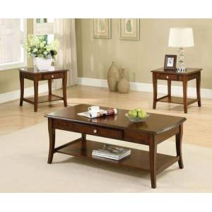 Lincoln Park Collection CM4702-3PK 3-Piece Living Room Table Set with Coffee Table and 2 End Tables in Dark