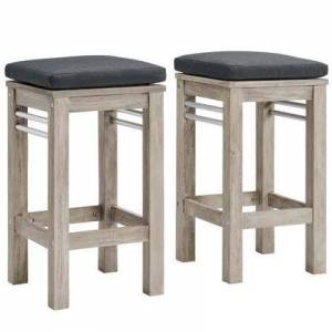 Modway Wiscasset Collection EEI-3969-LGR-STE  Outdoor Patio Acacia Wood Bar Stool Set of 2 with FSC Certified Acacia Wood Base  Brushed Aluminum Supports