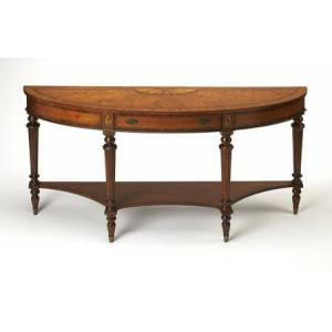 Butler Latham Collection 1510090 Console Table with Traditional Style  Demilune Shape and Cherry Veneer Material in Connoisseur's