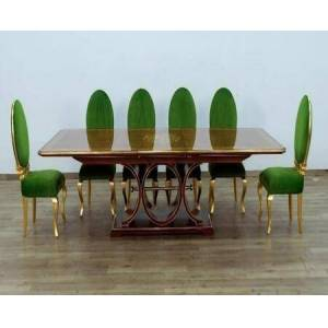 European Furniture Rosella Collection Luxury 11 Pieces Set with 1 Dining Table + 10 Side Chairs  Table in Brown Gold Leaf and Chairs in Emerald