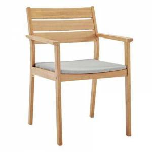 Modway Viewscape Collection EEI-3708-NAT-TAU  Outdoor Patio Ash Wood Dining Armchair with FSC Certified Ash Wood Frame  All-Weather Washable Cushion Cover