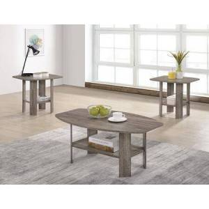 Progressive Furniture Chip T178-01-2ET 3-Piece Living Room Table Sets with Cocktail Table and 2 End Tables in Darker